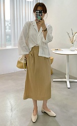 Miamiyu K - Miamasvin Elastic Waist Wrinkled Skirt - Basic Corporate