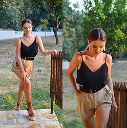 Tamara Bellis - H&M Satin Top, Zara High Waist Shorts, Migato Platform Sandals - Coming back home