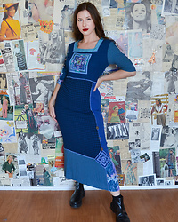 Aka. the Vixen ⚡ - Faith Vintage 1990s Royal Blue Plaid Patchwork Embroidered Maxi Pencil Dress, Rule London Black Leather Flat Chunky Chelsea Boots - Faith