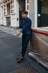 Kevin Elezaj - Dr. Martens Boots, G Star Raw Jeans, G Star Raw Shirt - Denim on denim